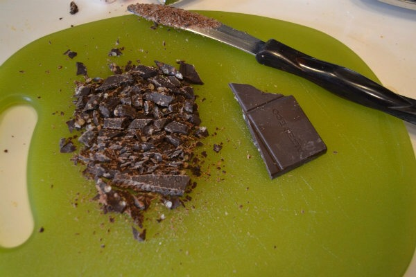 2) Cut up your chocolate bar.  Cocoa powder can also be used for the chocolate component