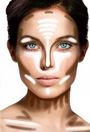 To make your nose appear thinner, apply your normal foundation to your nose, then apply a streak of highlighter down the center of its bridge and back up in a straight line.