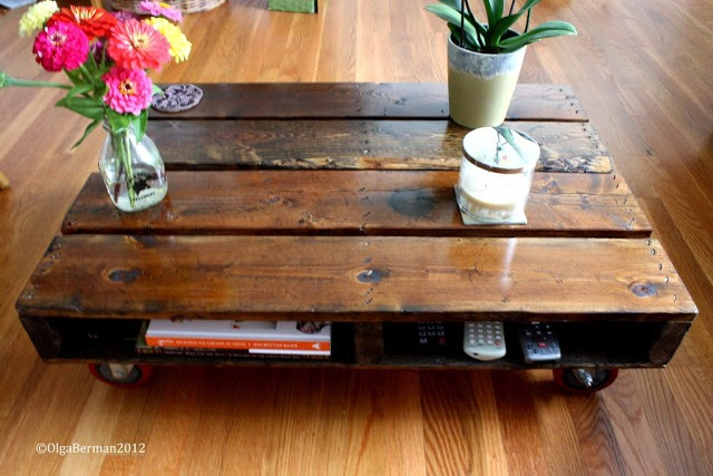 Super cute coffee table! Same idea as the first one but with a lighter finish. U may still want to seal it to prevent slivers and rough texture
