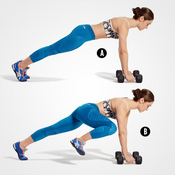MOVE 4Spiderman Plank with Dumbbellstart in a pushup position with ur hands on a pair of dumbbells and feet slightly more than hip-width apart (A). Brace ur core, then bend ur right knee toward the outside of ur right elbow (B). Pause, then return to start and repeat on the other side. That's 1 rep.