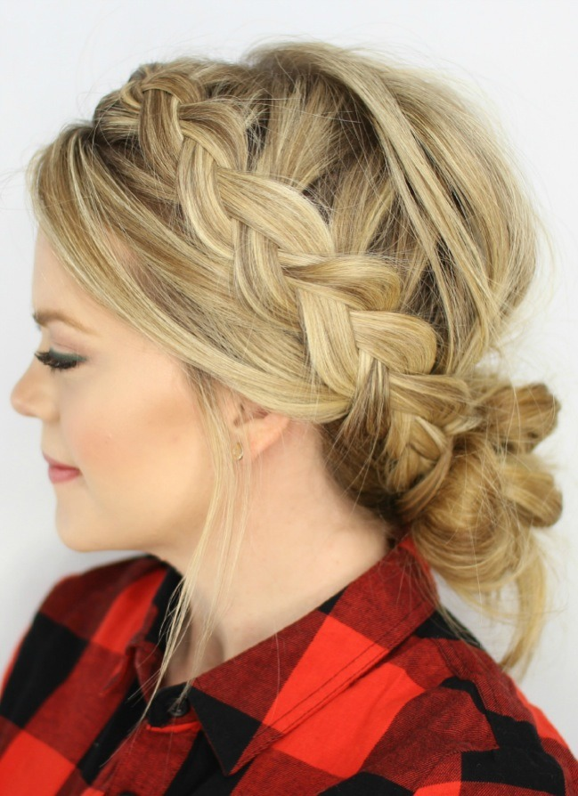 Dutch Braids And Low Messy Bun By Jasmine Musely