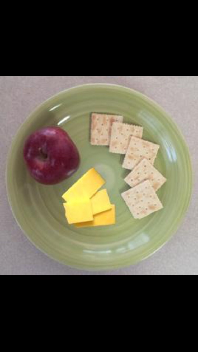 (5) saltine crackers (64 calories)     (1) slice of cheddar cheese     (113 calories)     (1) small apple (55 calories)
