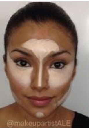I then go on and do my highlight and my contour. I place the highlight on my forehead , chin , down my nose & under my eyes and under my cheekbones then for my contour at the sides of my nose on my cheek bones and then I blend it all in with my sponge.!