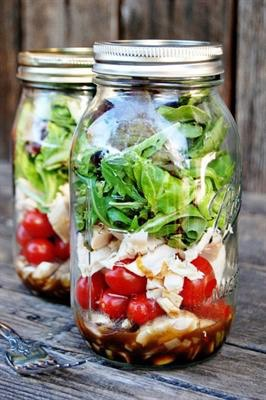 one 12-16oz mason jar is 1 1/2 servings of your daily fruits and veggies and many people eat too much because they aren't getting the vitamins and nutrients they need. fill a mason jar with your favorite salad and fruit salad fixings and get the energy anf nutrients you're actually craving!