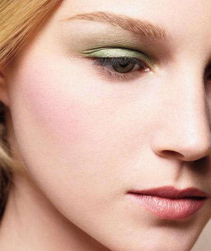 Pastel Eyes Easter-egg shades are springing up all over, including on lids.  For a sophisticated effect, pick one that stands out against your hair color. These pairings pop nicely.  With blond hair, try pale green shadow (shown): Make Up For Ever Eyeshadow #34, $20, sephora.com.