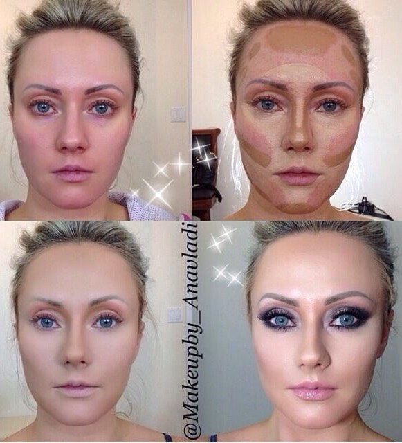 For you to apply these techniques, you will need foundation in a light and in a dark shade. You will use the light shade and apply it on the areas that are catching light, like forehead, under your eyes and as you can see in the pictures.
