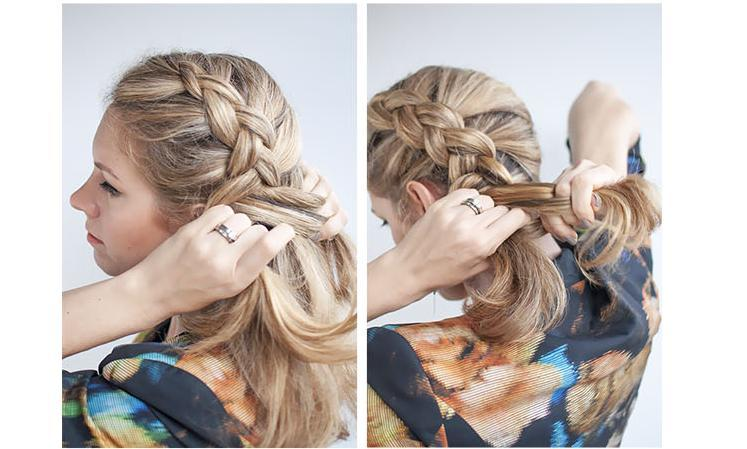 Repeat adding in hair from the left side and bringing that section under into the middle. You still add in hair from both side with this braid, but you keep the braid close to your hairline along the side of your face. When adding in hair on the right, take sections from across the back of your head
