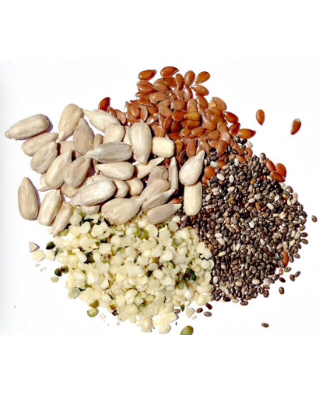 Pumpkin seeds, flax seeds, sunflower seeds, chia seeds and hemp seeds are all wonderful for your skin. They keep wrinkles away, lower stress levels and  fight against acne.