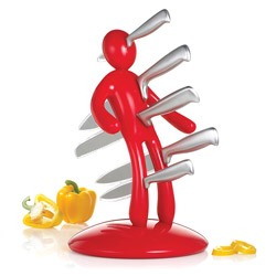 The Ex: 5 Piece Kitchen Knife Set 🍴$$ @ http://www.overstock.com/#/Home-Garden/The-Ex-5pc-Knife-Set-with-Unique-Red-Holder-designed-by-Raffaele-Iannello/1892705/product.html