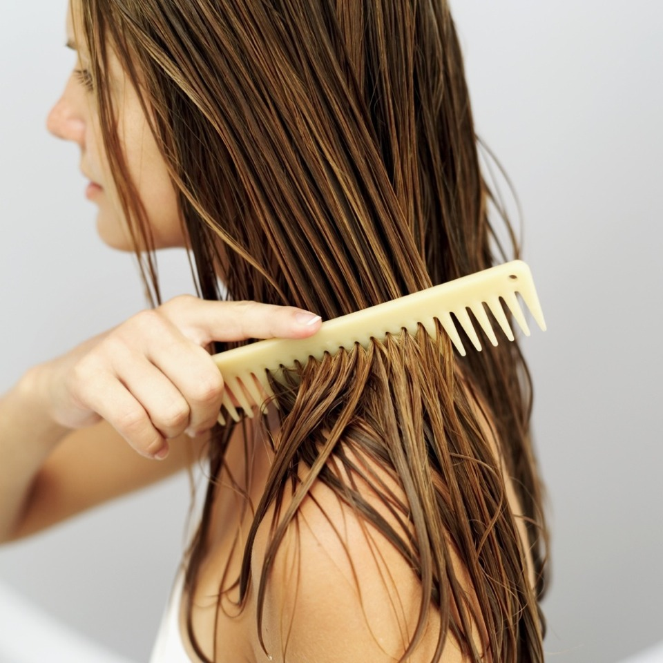 Step 6: Don't brush wet hair! Your hair is at it's weakest when wet, so don't go yanking at it with a brush! Wait until your hair is damp, then use a comb or your fingers to comb through it.