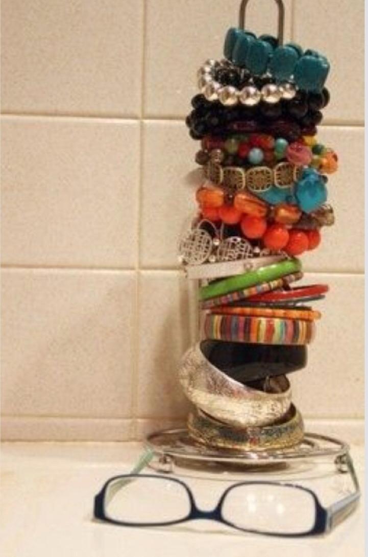 Have an old paper towel holder? Make it into a beacelet holder!