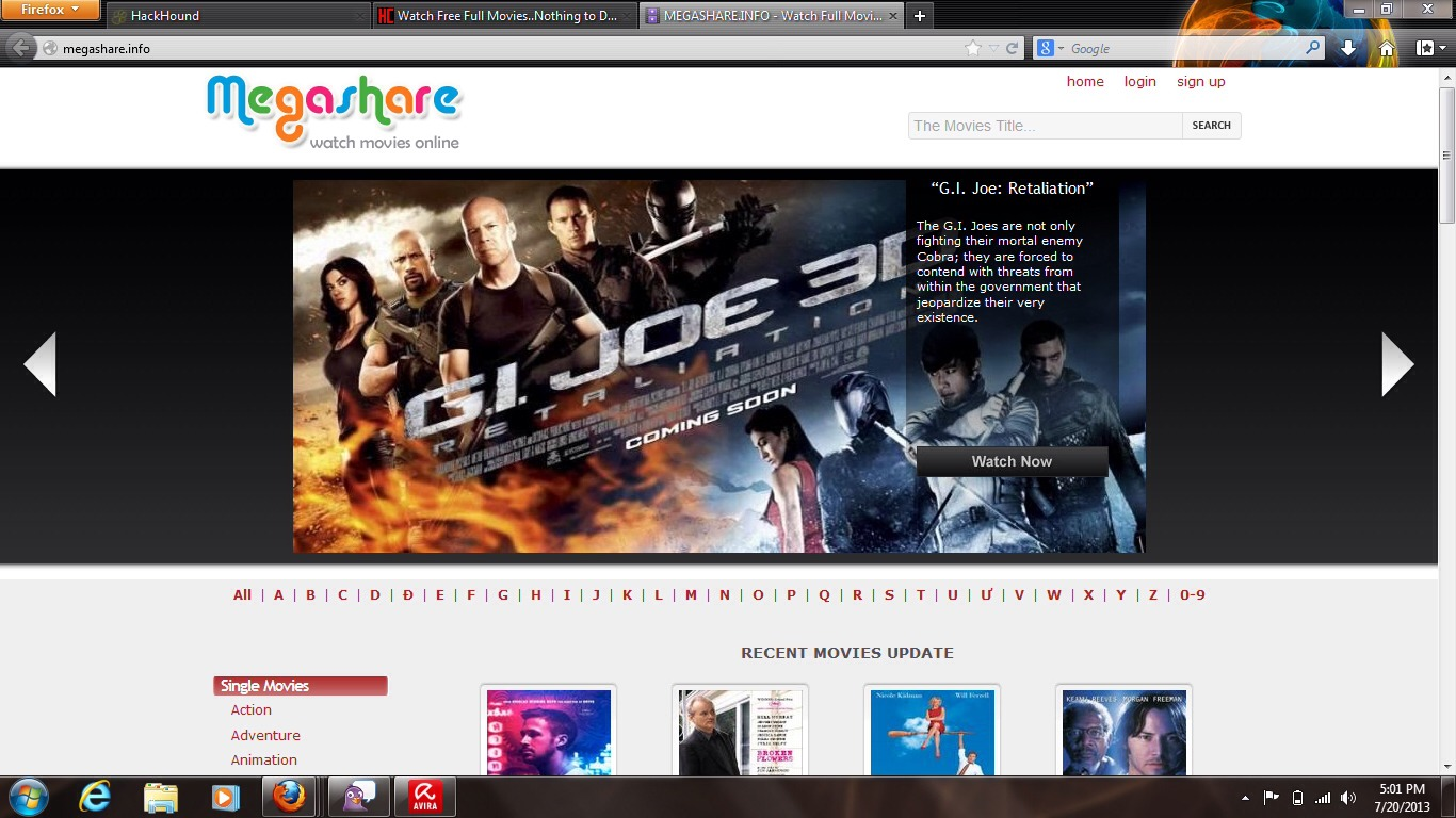 """Megashare.com  GREAT for movies! It works better if you go into google and type """"(name of movie) megashare"""""""