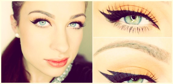 "Easily create the ""tiger"" effect by creating two separate wings with liquid eyeliner. The ULTIMATE cat eye!"
