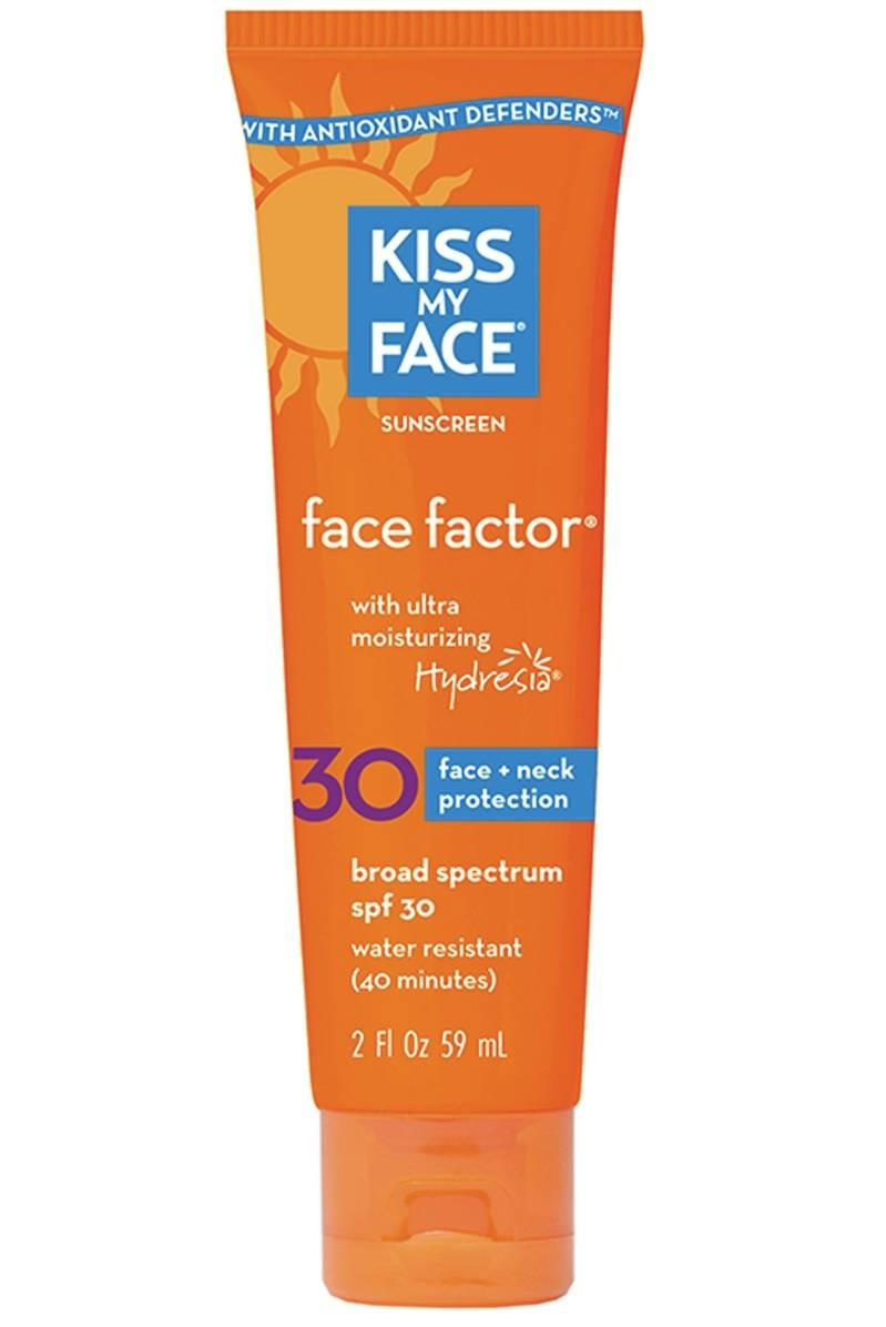 Wear a moisturizer with SPF every day Sunscreen prevents your complexion from becoming uneven, not to mention protecting it from skin cancer. Kiss My Face Face Factor SPF 30 ($13.95) contains licorice extract, which helps brighten skin and fade dark spots.