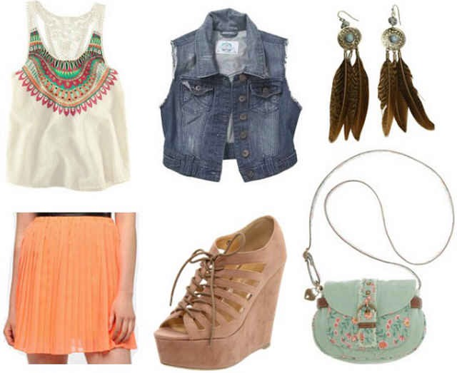Product Info:  Top- H&M, Vest- Debenhams, Earrings- Swell, Skirt- Urban Outfitters, Shoes- Endless, Bag- Macy's