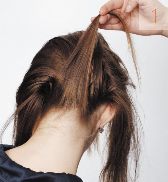 Put the head down. Comb the hair- it will make the braiding easier. Start making a french braid. Select three strands at the back part of the head.