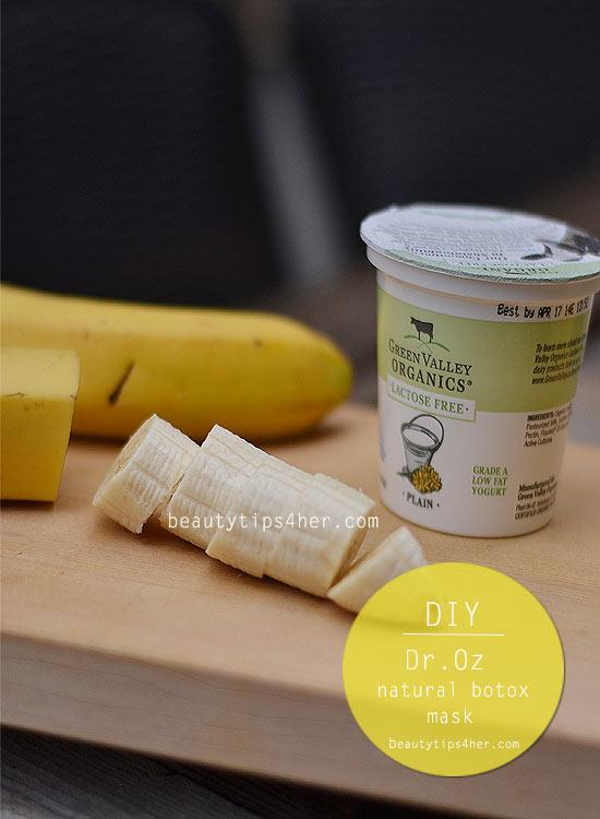All you need for this face mask is: 1/4 cup yogurt Half a banana 1 Teaspoon honey 1 damp, hot face cloth