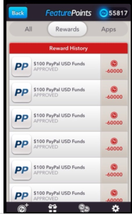 This is points being redeemed for PayPal cash!
