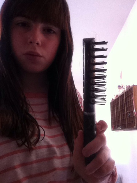 And then a big toothed comb or brush