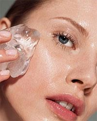 Then lightly drag an ice cube on your face to shrink pore size and cool the redness. Your face may be red after this step but will eventually calm down and lighten itself.