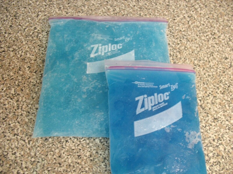 Use water and dish soap and mix it. Then put it in a plastic baggy and seal it nice and tight. And put it in the freezer until it is at your coldness you like.