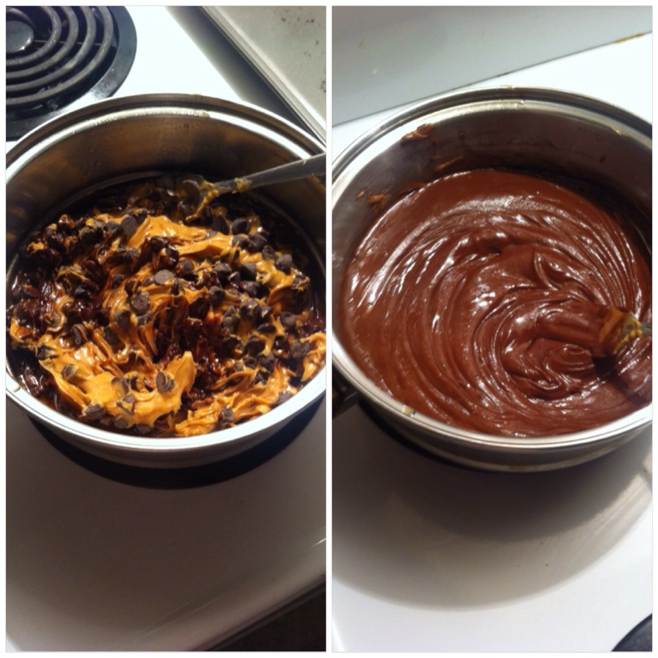 In a pot on low heat mix your vanilla, Peanutbutter, and chocolate chips until fully melted together