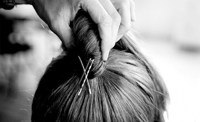"""Prop It Up With Pins  """"Take three bobby pins and criss-cross them in the back, right behind the ponytail, to give it some height,"""" Tran says. He says this little trick helps the ponytail stand up more and prevents it from collapsing."""