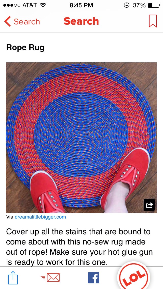 Create an easy DIY rope rug by simply gathering some rope and using a hot glue gun to stick them together.