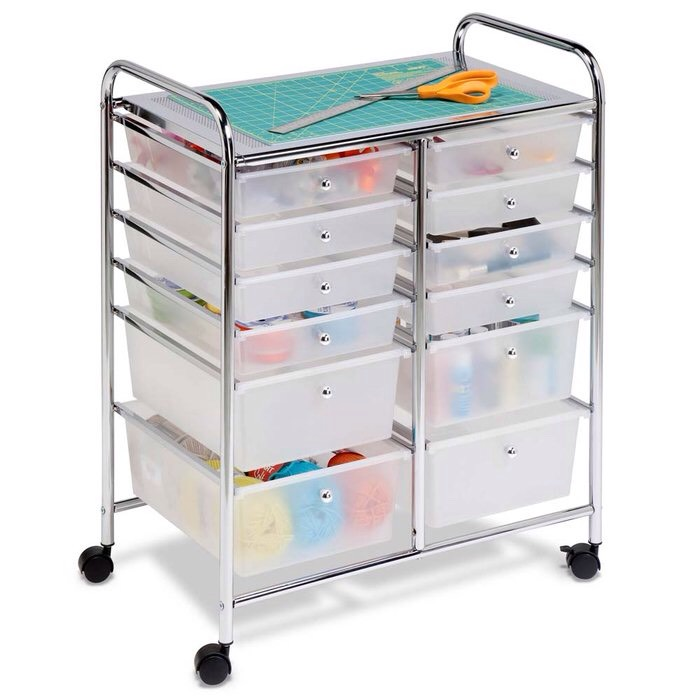18. A rolling cart with coordinated boxes can be pulled in or out of the closet and used for clothing or office supply storage. These are great for makeup and hair accessorise!