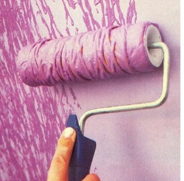 Wrap string around paint roller to creat this design!
