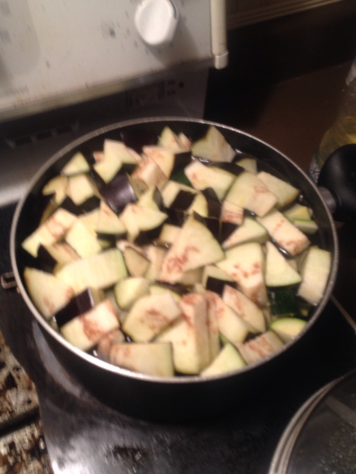 - Bring zucchinni and eggplant to a boil - Simmer 5 mins - Drain and reserve