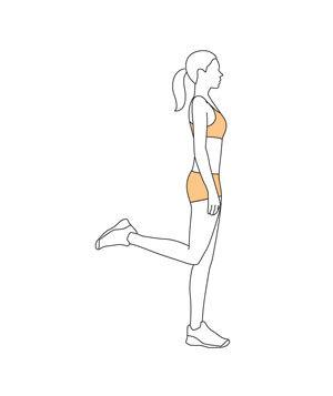 standing hamstring curlStand next to a wall or chair and rest one hand on it for support, if needed. Lift your right foot toward your rear for a hamstring curl. Hold the contraction for four seconds. Repeat on the left side.