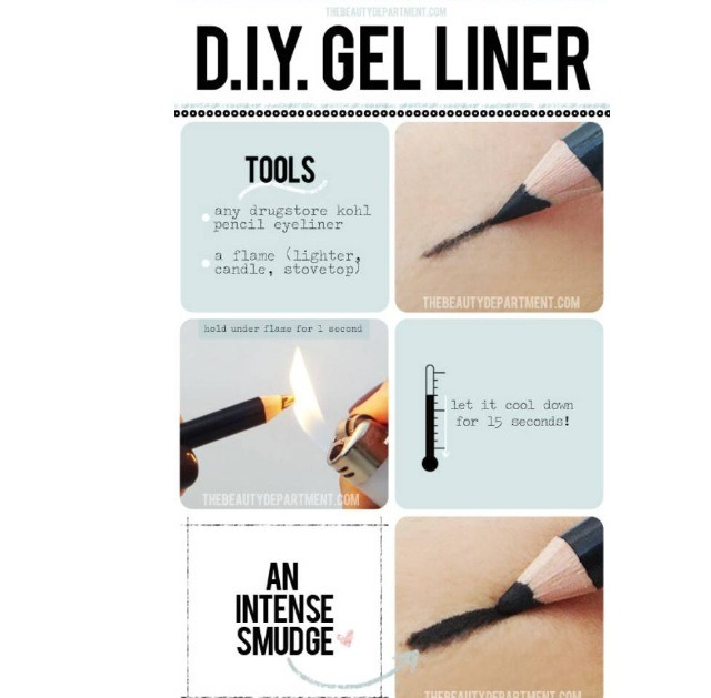 Turn any regular eyeliner pencil into a gel liner by holding it above a flame for 1 second. Allow the pencil to cool for 15 seconds and VOILA, you have a gel liner pencil.