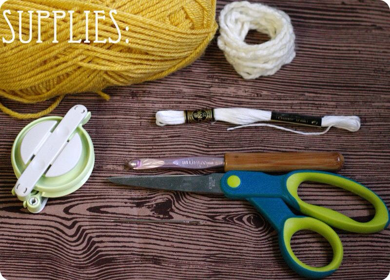 supplies needed: yarn (i like the ultra thick Lion Brand yarn for my adult sized hats and regular yarn for the puppy/doll versions), white yarn for the pom-pom, white embroidery thread, a crochet hook (i like to use larger hooks to speed of up the process!)