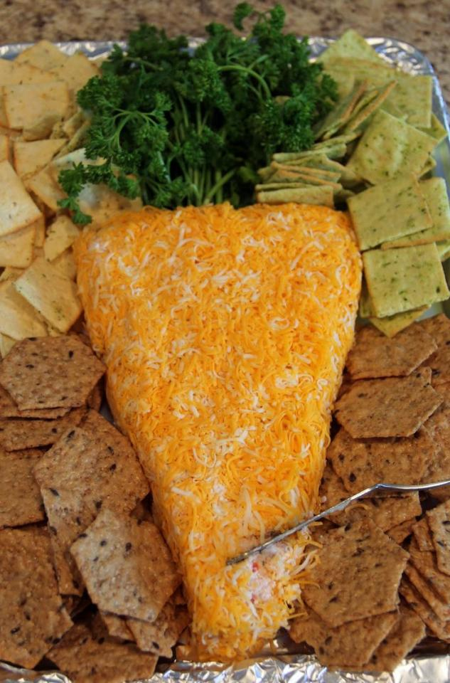 cheese dip in the shape of a carrot for easter