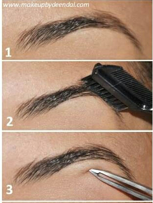 Firstly, you will want to comb through your eyebrows with a brow brush and pluck any unwanted hairs.