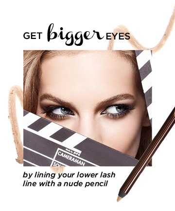 Knowing how to make your eyes look bigger also requires choosing the right eyeliner. To waterline your eyes with a cream or white pencil. This will act as an optical illusion, making the whites of your eyes appear bigger. (Bonus: It also helps your eyes look whiter and more awake.)