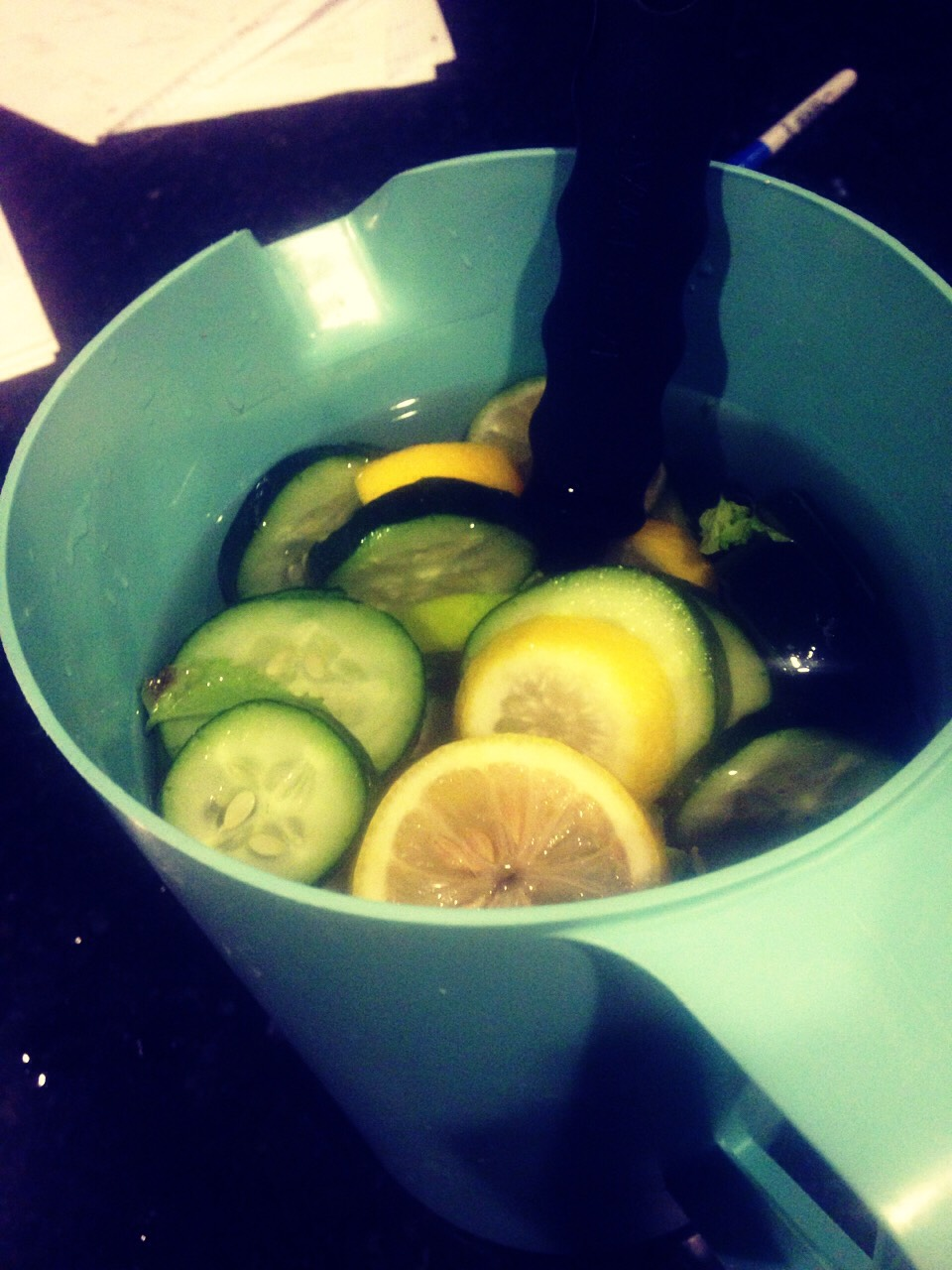 Lemon, mint, lime, cucumber and of course water!!