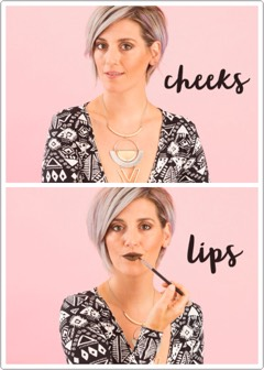 Next,apply to your cheeks as a blush/bronzer + blend by making small circular, tapping motions with your fingertips.  Finally, apply to your lips with a lip brush to finalize this trio'ed look.  Just add a coat or two of your favorite mascara +you're ready to roll! Can I say obsessed?!