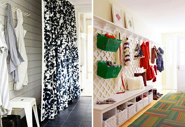 Here's some great hallway organization ideas. The curtain one is great for hiding any clutter!