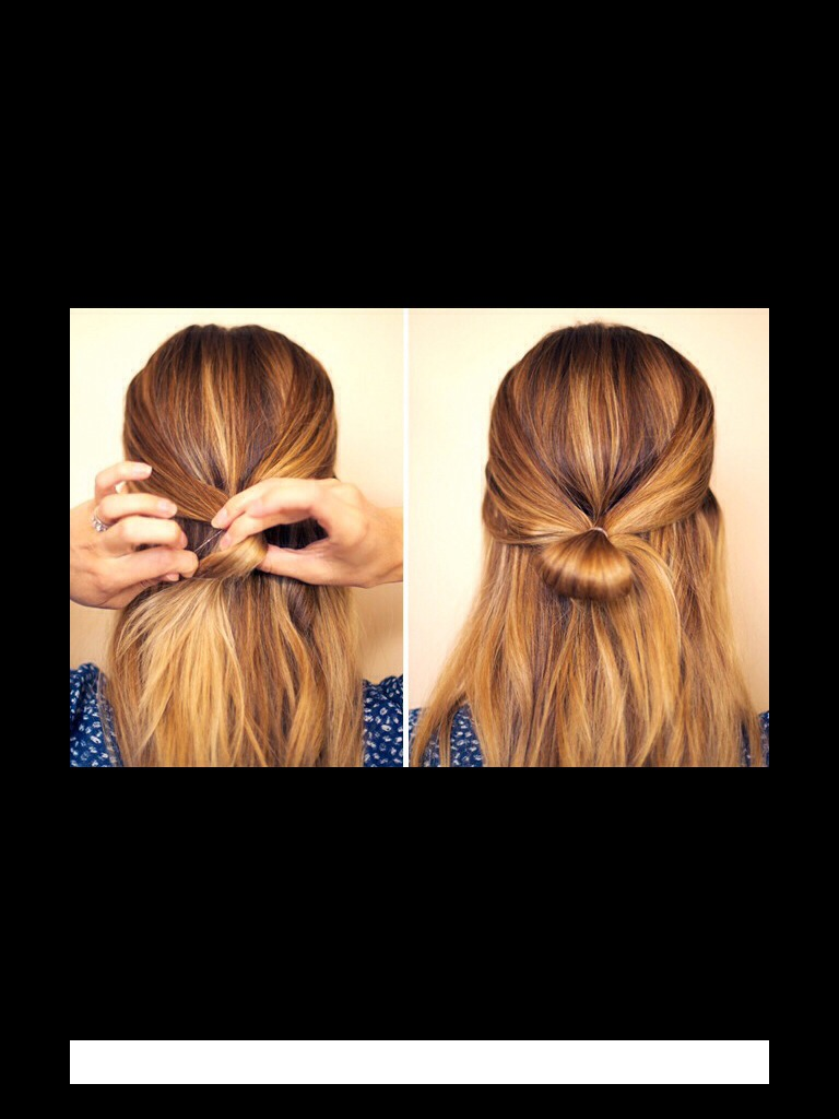 Next, take the two sections and put them into a bun on the back of your head