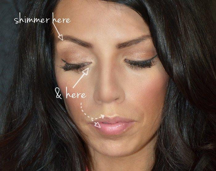4. A little well placed shimmer can work wonders:It REALLY brightens your eyes and looks awake and youthful and totally plumps your pout!
