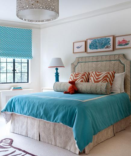 A Touch of Turquoise An energetic color can feel right at home in a bedroom of any style. Soften the look with tricks that add texture and depth, like layering rugs and tossing on the accent pillows.