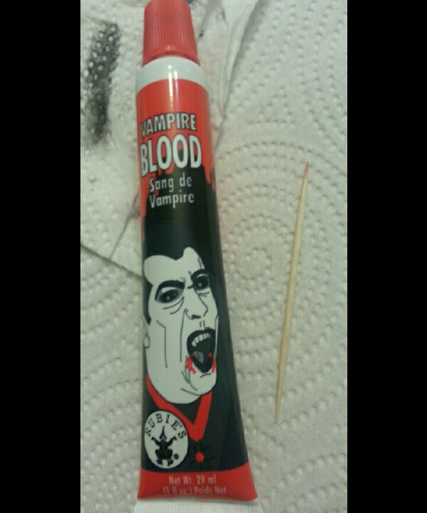 next use the fake blood and toothpick