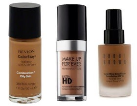 """""""COMBINATION""""   ContinuedFor this reason it's best to make sure that theentire face is fully moisturized beforeapplying an oil-freeformula foundation.  PICTURED   📷  Revlon ColorStay,$12 Makeup Forever HD,$43 Bobbi Brown Long Wear,$48"""