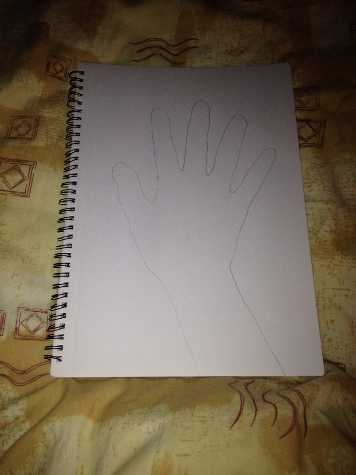 STEP 1: Using a pencil, draw around your hand on your paper or sketch book.