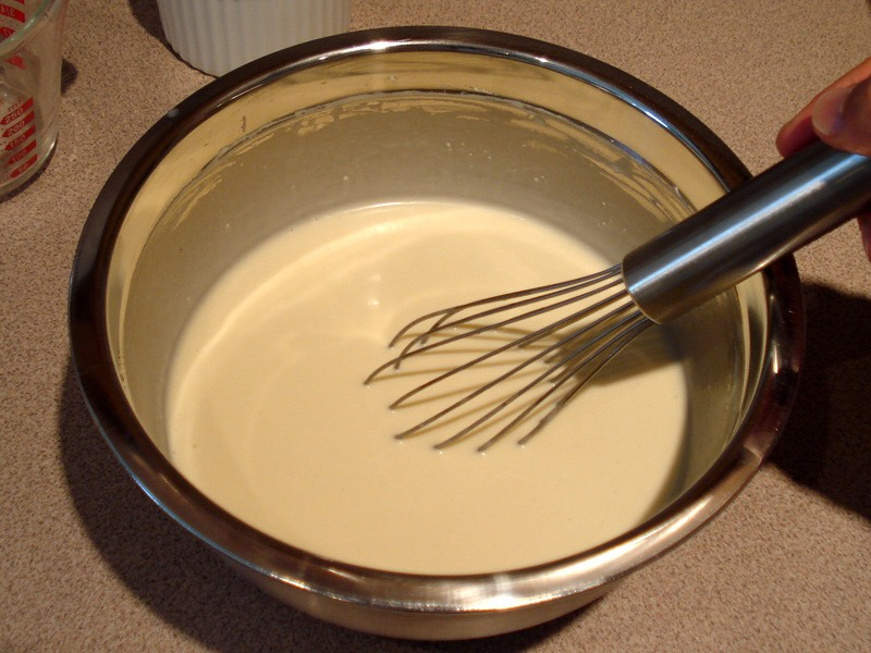 "Mix your pancake mix with water. Remember keep it thick! It's a ""batter"".   - tip, we are using pancake mix, to keep it sweet, and allow this dessert to be tasty!"