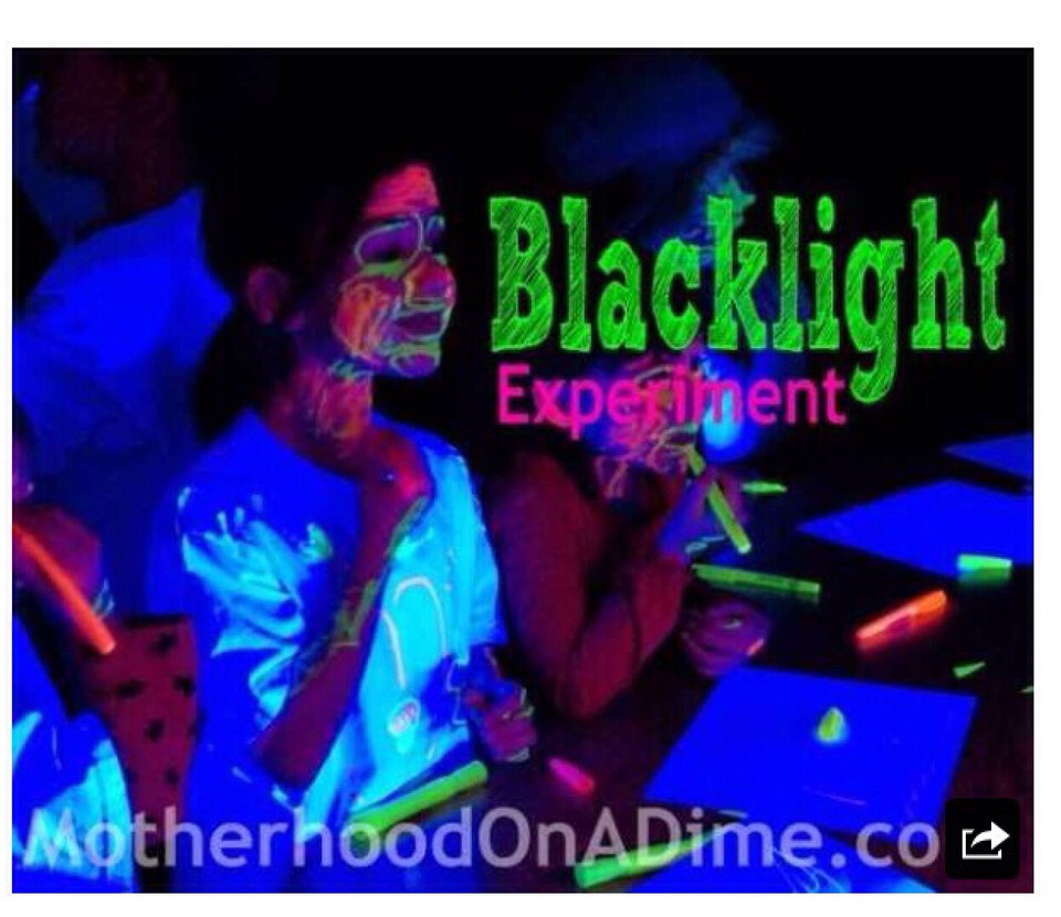 Buy glow in the dark paint and paint your face t-shirts and skin for a no light party