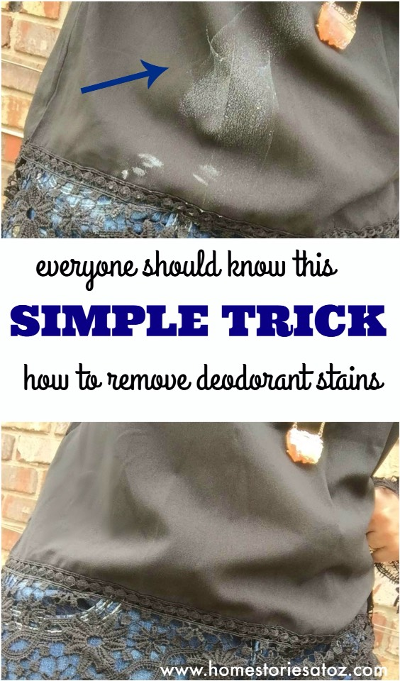 5.Deodorant Remover Hack Deodorant stains ruining your look? Don't change your shirt just yet! Try this easy deodorant removing hack to eliminate the white with just a few swipes.