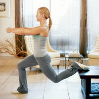 5 chair lunges ( each leg ) . You can use a chair , a bench , your couch , or a table stand .